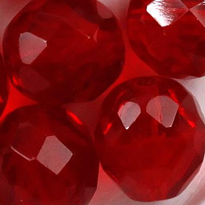10 mm 10 Glasschliffperlen in rot