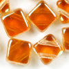 Flat Silky Beads crystal - kupfer gelüstert 6mm 25Stk. Two-Hole-Beads