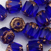 Antik Glasschliffperlen 6 mm royalblau bronze