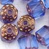 Antik Glasschliffperlen 8 mm hell blau bronze